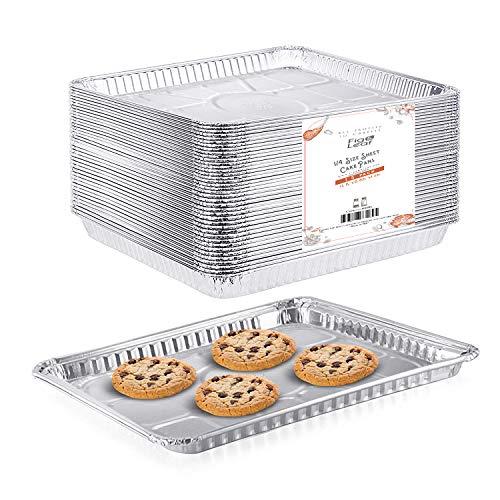 """(25 Pack) 1/4 Size Cookie Sheet Baking Cake Pans l 12.8"""" x 8.9"""" Disposable Aluminum Foil Trays l Premium Heavy Duty Nonstick Baking Sheets Reusable"""