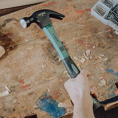 Marteau arrache-clou américain 16 oz (450 g) avec manche en fibre de verre 2K par WIESEMANN 1893 | gamme ENFORCE | tête forgée et trempée par induction | 80492