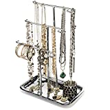 Jewelry Tree Necklace Holder Stand Tabletop Organizer Bracelet Hanger Tower Three Tier Display Ring Tray Silver Finish GAR599