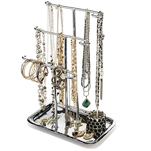 Jewelry Tree Necklace Holder Stand Tabletop Organizer Bracelet Hanger Tower Three Tier Display Ring...