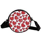 Bolso cruzado redondo pequeño bolso de las señoras de la manera bolsos de hombro bolso de mensajero bolsa de lona bolsa de cintura accesorios para las mujeres - retro rojo amor corazón patrón