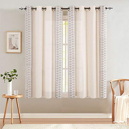"""Embroidered Window Curtains for Bedroom- Quatrefoil Flax Linen Blend Textured Geometry Lattice Grommet Window Treatment Set for Living Room 50"""" W x 63"""" L 2 Panels Grey"""