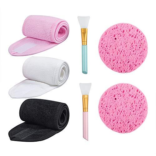YuCool - Juego de 3 diademas faciales para spa, para el cabello, antideslizante, elástica, ajustable, con cinta mágica con 2 cepillos de silicona y 2 esponjas para tratamiento facial