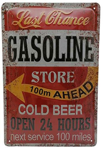 Service Tankstellen Retro Bier Blechschild Gasoline Store Cold Beer 60er US Diner Werkstatt Oldtimer Werbung-Reklame-Retro-Marke-Schild-Magnet-Metallschild-Werbeschild-Wandschild