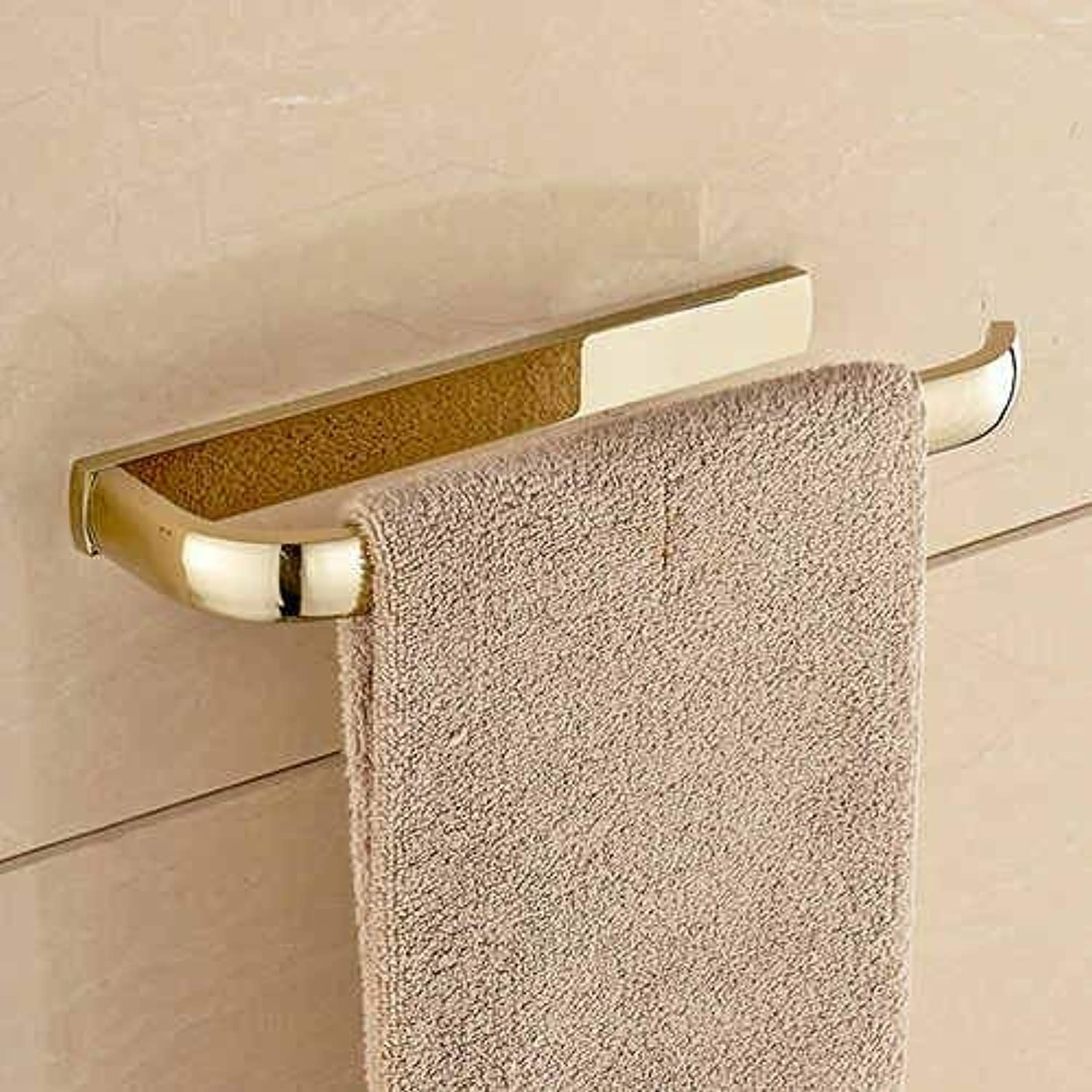 Towel Rack Towel Ring Towel Bar Lavatory Towel Rack Holder Solid Brass Black Chrome gold pink golden Antique Bathroom Accessories Hy-2205K, golden Bathroom Towel Shelf (color   golden)