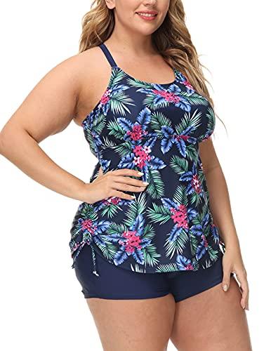 Hanna Nikole Tummy Control Tankini Swimsuits 2 Piece Plus Size Strappy Swim Tops Shorts Navy 24W