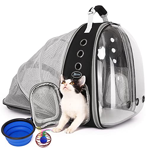SUPERBE Katzenrucksack Tragetasche, Ventilierte Transparente Hunderucksack, Haustier Rucksack, zum Wandern, Reisen, Outdoor, Fluggesellschaft zugelassenen Raumkapsel Rucksack (schwarz)