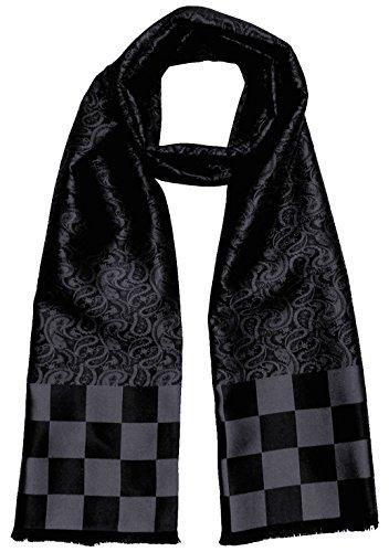 Lorenzo Cana Herren Schal aus 100% Seide aufwändig jacquard gewebt Damast Seidenschal Seidentuch Tuch 25 cm x 160 cm Schwarz 8921511