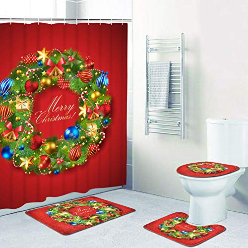 4 Pcs Merry Christmas Shower Curtain Sets with Non-Slip Rug, Toilet Lid Cover and Bath Mat, Xmas Wreath Ball Star Fir Leaves Shower Curtain with 12 Hooks for Christmas Decoration