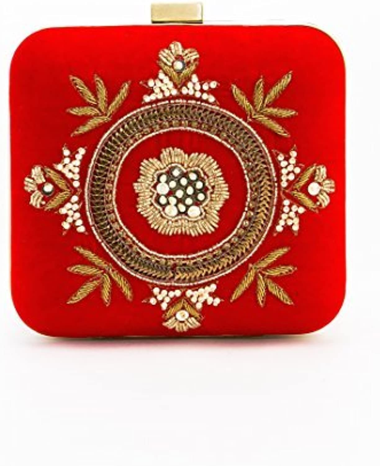 Beaded Red Velvet Clutch with Pearls and Floral Embroidery