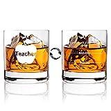 AGMdesign, Funny Double sided'Good Day Bad Day Don't Even Ask' Teacher Whiskey Glasses Gift for Teacher's, educator, teaching team