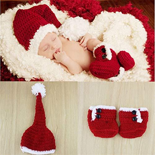 WDFDZSW Natale di Cotone Kid Cappello con Stivali Scarpe Set Handmade Crochet Photography Neonato Props Set Costume