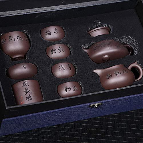 Teapot Tea Pot Virtuous Green Clay Stone Scoop Teapot Teapot Tea Kits TongLingUSL (Color : Luxury eight-piece)
