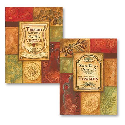 2 Tuscan Retro Olive Oil and Vinegar; Kitchen Decor; Two 12X16 Poster Prints