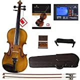 Cecilio CVN-500 Solidwood Ebony Fitted Violin with D'Addario Prelude Strings, Size 4/4 (Full Size)