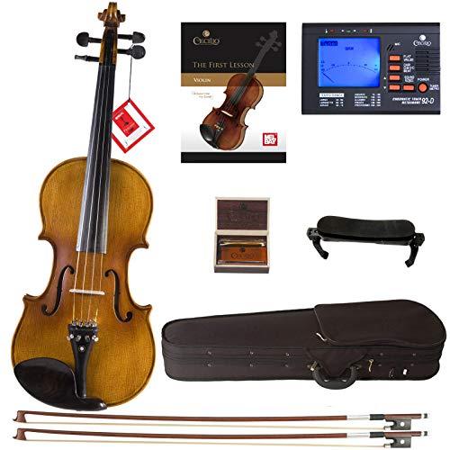 Cecilio CVN-500 Solidwood Ebony Fitted Violin with D'Addario Prelude...
