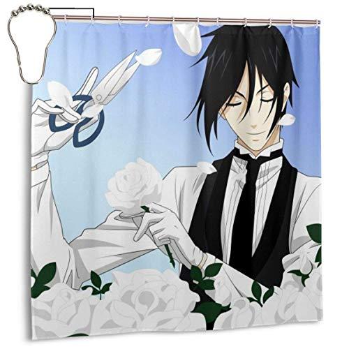 Schwarzer Butler-Sebastian Anime Dekor Duschvorhang 72x72 in mit 12er Pack Eisenhaken für Badezimmer