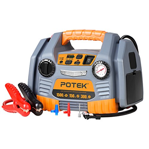 POTEK Portable Power Source:1500 Peak/ 750 Instant Amps Jump Starter, 300W Inverter,150 PSI Air...