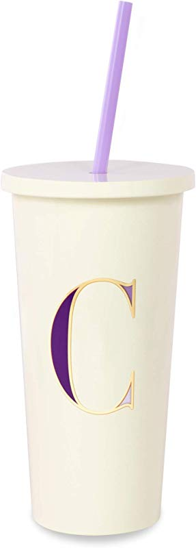 Kate Spade New York Insulated Initial Tumbler With Reusable Silicone Straw 20 Ounces C Purple