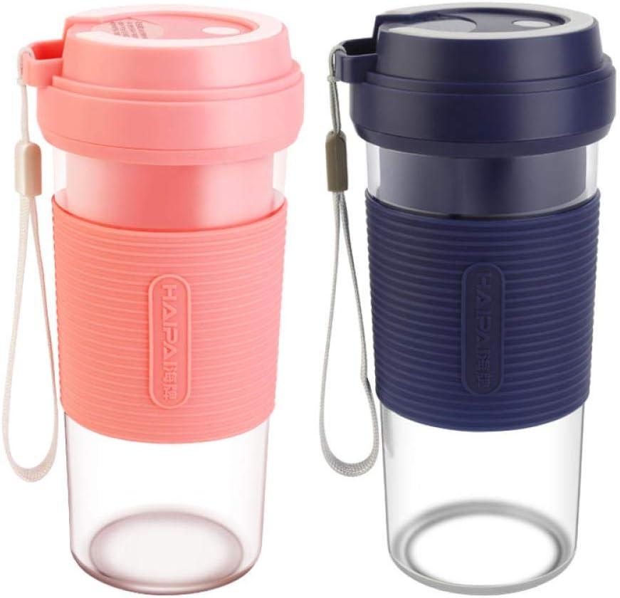 batidora de zumo USB,Draagbare oplaadbare sapcentrifuge, mini USB-kookmachine, schudblauw,Mini batidora de Frutas Vaso exprimidor Pink