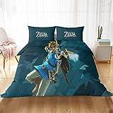 Bolat The Legend of Zelda - Juego de funda de edredón con diseño de dibujos animados 3D, 100% microfibra, para hombres, mujeres y niños (G, 135 x 200 cm)