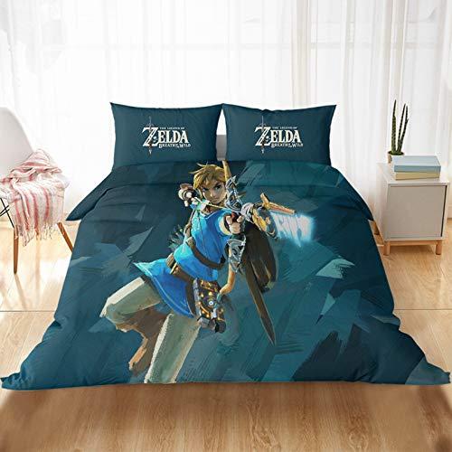 BOLAT The Legend of Zelda - Juego de funda de edredón 3D de dibujos animados 100% microfibra impresa para hombres y mujeres y niños (200 x 200 cm)