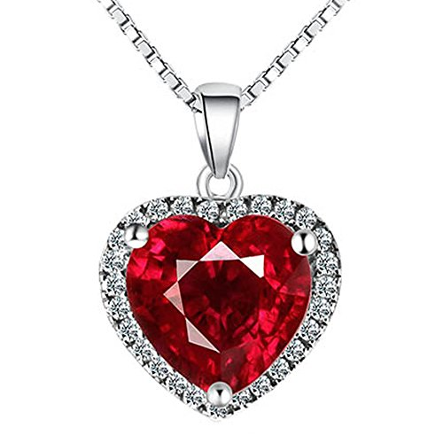 Navachi 925 Sterling Silver 18k White Gold Plated 3.7ct Heart Ruby Az9037a Necklace Pendant 18'