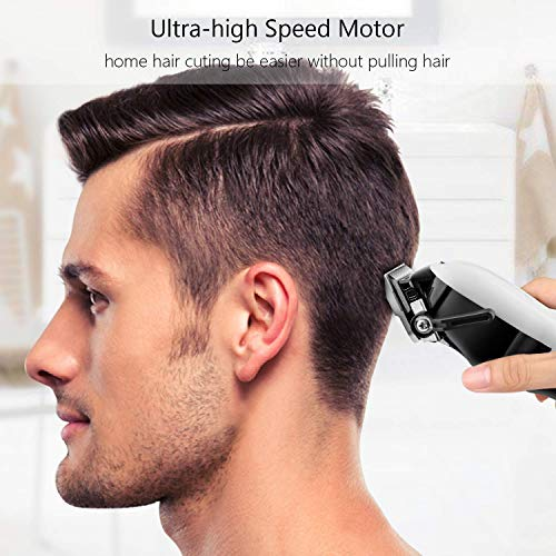 Cordless Hair Clippers for Men SUPRENT Professional Hair Cutting Kit Rechargeable Hair Trimmer with 2000mAh Li-ion Battery, 24 Lock-in Haircut Lengths, LED Display, Fast Charge, White
