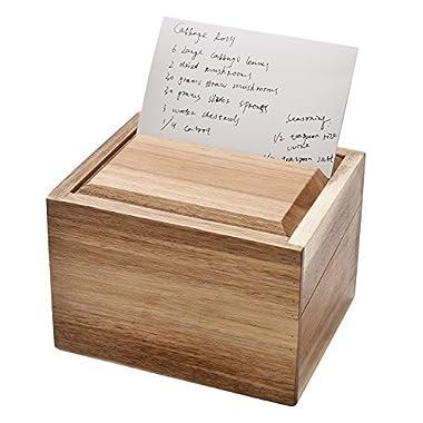 WELLAND Recipe Box with Card Divider Recipe Card Set, Acacia Wood
