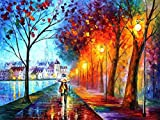 DIY Paint by Numbers Adults Canvas Colorful Watercolor Oil Painting Kit for Home Decor Wall Gift Beginner Romance Under Umbrella 16x20Inch (Inner Frame)