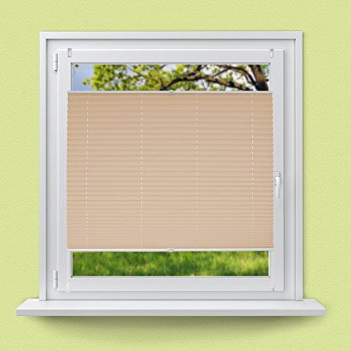 ECD Germany Plissee 80 x 200 cm - Creme - Klemmfix - EasyFix - ohne Bohren - Sonnen- und Sichtschutz - für Fenster und Tür - inkl. Befestigungsmaterial - Jalousie Faltrollo Fensterrollo Rollo