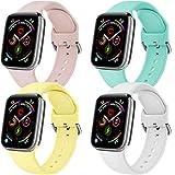 Yandu Lot de 4 bracelets de rechange en silicone souple pour Apple Watch Series 5 4 3 2 1 (42 mm/44 mm-S/M, 01, jaune, blanc,...