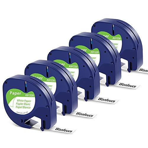 5 x Wonfoucs kompatible Schriftband als Ersatz für Dymo Letratag Paper White 12mm x 4m 91220 S0721510 91200 für Dymo LetraTag LT-100T LT-100H LT-110T QX 50 XM XR 2000 Plus Etiketten, Schwarz auf Weiß