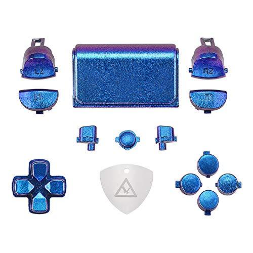 eXtremeRate D-Pad Triggers R1 L1 R2 L2 Touchpad Action Home Share Options Boutons de Remplacement,Kit de Boutons avec Outil pour Playstation 4 pour PS4 Slim Pro Manette CUH-ZCT2-Caméléon Violet Bleu