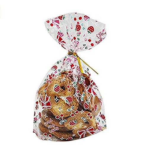 Demarkt Lot de 50 Sacs de Cadeaux Sac de Nourriture de Noël Sac de Rangement pour Bonbon Cadeau Christmas Sac Décoration Fête Nouveau Années - avec Fil de Fer