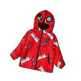 XNheadPS Coupe-Vent Petits Enfants Spiderman Imprimé Veste À Capuche avec Poches Coupe-Vent Trench-Coat Léger Zip Enfants Coupe-Vent Hoodies Veste Outwear,Red- 130cm