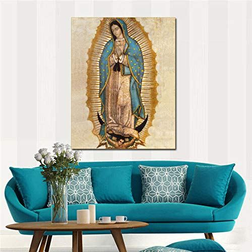 MhY Virgen de Guadalupe HD Imprimir en Lienzo Enorme Cuadro de Pared 60cm x90cm Sin Marco
