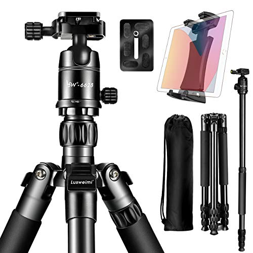 Lusweimi 66'' Tripod for Camera, Aluminum DSLR Tripods with 360° Ball Head Quick Release Plate for Canon/Nikon/Sony Mirrorless Camera, Professional Travel Monopods with Carry Bag for iPad 12.9/iPhone