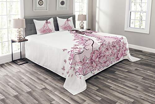 ABAKUHAUS Hochzeit Tagesdecke Set, Floral Brautkleid, Set mit Kissenbezügen Sommerdecke, für Doppelbetten 264 x 220 cm, Hellrosa Kastanienbraun Weiß