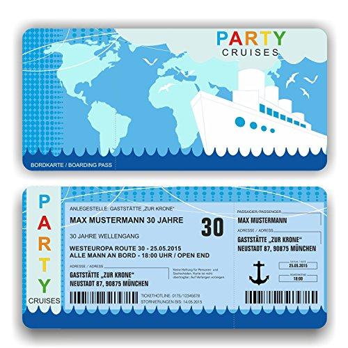Einladungskarte Geburtstag Schiff Kreuzfahrt Bordkarte Ticket mit Perforation (50 Stück)