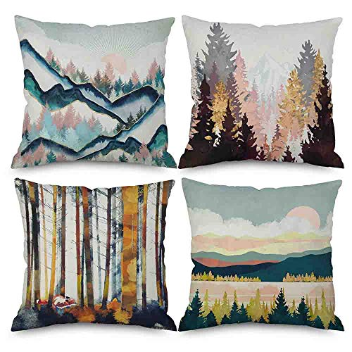 Pack of 4 Throw Pillow Covers 18x18 Watercolor Painting Abstract Sunrise Mountain Forest Sun Farm Blue Yellow Spring Fall Home Decor Invisible Zipper Decorative Cushion Cover Pillow Case Sofa Couch