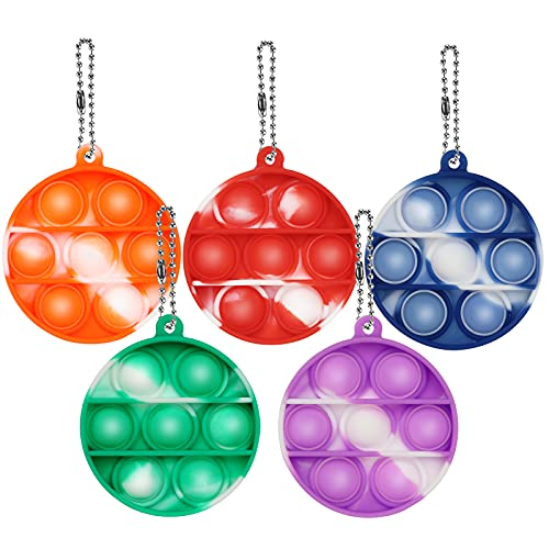 5 Pcs Mini Pop Fidget Keychain Toy, Push Bubble Simple Sensory Fidget Toy, Squeeze Sensory Hand Keychain Toy, Silicone Stress Reliever Toy for Kids,Family,Students and Friends (5pack Mini Round)