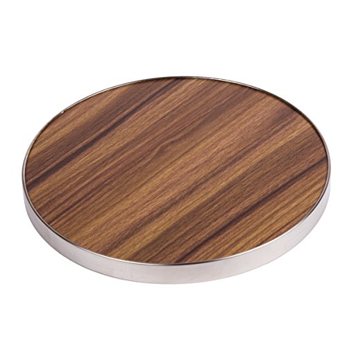 """Creative Home Fiber 7"""" Round Trivet, Serving Board Acacia Wood Finish and Stainless Steel Trim, 7' Diam. x 1/2' H, Brown"""