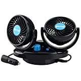 Allnice 12V Electric Car Fan 360 Degree Rotatable Dual Head Car Auto Cooling Air Fan Powerful 2 Speed Quiet Ventilation Dashboard Oscillating Car Fans Summer Cooling Air Circulator