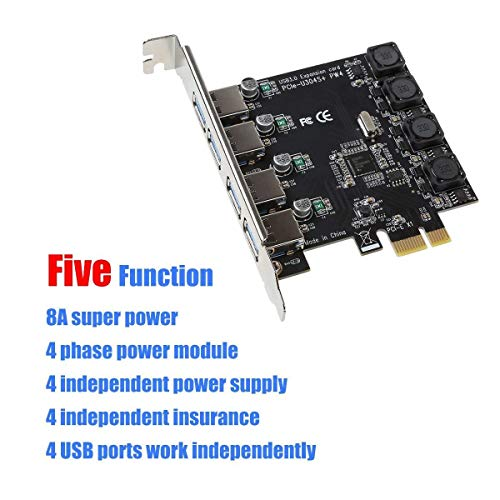 ORICO 4-Port USB 3.0 Super Speed Karte PCIe Express Controllerkarte - Keine Stromanbindung mehr erforderlich, Versorgung über den PCI-E Einschub