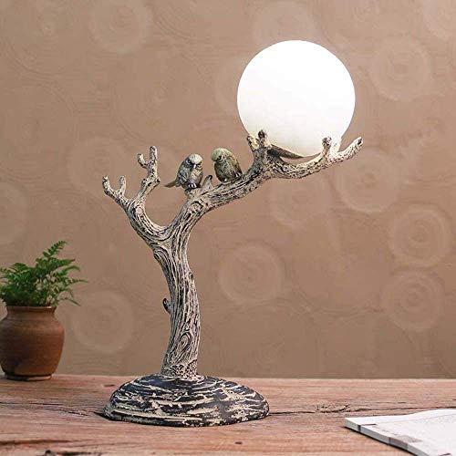 LLLKKK Lámpara de escritorio de madera estimulada hecha de resina natural natural, vintage, con pantalla de cristal esférica, tronco del árbol y pájaros, hecha para dormitorio, estudio, decoración,