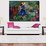 ganlanshu Pintura sin Marco Pintura al óleo Abstracta una niña Jugando con Flores y Plantas Lienzo Arte de la Pared Sala de Estar decoración del hogarZGQ3677 70X105cm