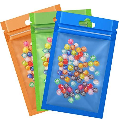 Hestya 150 Packs Mylar Zip Lock Bags Aluminum Foil Bags Durable Double-Sided Metallic Foil Mylar Flat Ziplock Bag 7.5 x 12 cm/ 3 x 4.7 inch (Green, Orange, Blue)