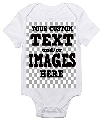 Customized One-piece Baby Bodysuit Romper for Boys and Girls (0-3 Months, White)