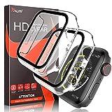 TAURI 2 Pack Custodia per Apple Watch 44MM Serie 6/5/4/SE, Sottile Custodia Rigida per PC Proteggi Schermo in Vetro temperato Integrato [Copertura Protettiva Complessiva] per iwatch 44MM -Trasparente